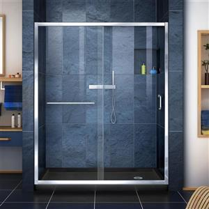 DreamLine Infinity-Z Alcove Shower Kit - 32-in x 60-in - Glass Door - Chrome