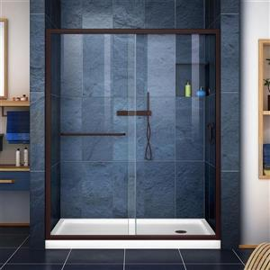 DreamLine Infinity-Z Alcove Shower Kit - 30-in - Right Drain - Bronze