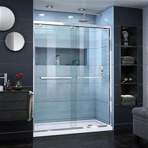 DreamLine Encore Alcove Shower Kit - 34-in x 60-in - Right Drain - Chrome
