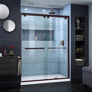 DreamLine Encore Alcove Shower Kit - 30-in x 60-in - Right Drain - Bronze