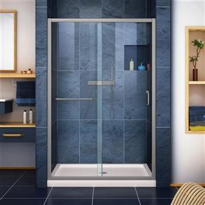 DreamLine Infinity-Z Alcove Shower Kit - 36-in - Center Drain - Nickel