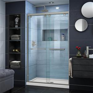 DreamLine Encore Alcove Shower Kit - 32-in x 48-in - Center Drain - Nickel