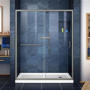 DreamLine Infinity-Z Alcove Shower Kit - 30-in - Right Drain - Nickel