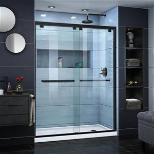 DreamLine Encore Alcove Shower Kit - 30-in x 60-in - Right Drain - Satin