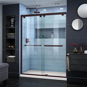 DreamLine Encore Alcove Shower Kit - 32-in x 54-in - Center Drain - Bronze