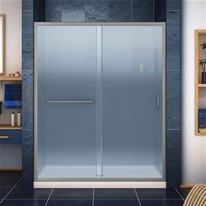 DreamLine Infinity-Z Alcove Shower Kit - 30-in - Center Drain - Nickel