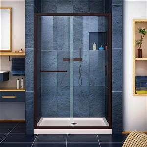 DreamLine Infinity-Z Alcove Shower Kit - 36-in - Center Drain - Bronze