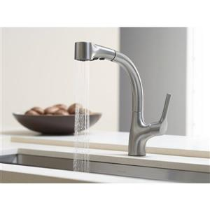 KOHLER Elate kitchen sink faucet pull-out spray - Polished Chrome