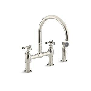 KOHLER Parq  three-hole deck-mount bridge kitchen sink faucet - Vibrant Polished Nickel