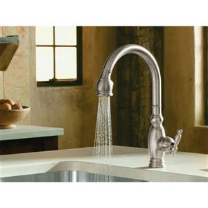 KOHLER Vinnata single hole or three-hole kitchen sink faucet w - Vibrant Brushed Nickel