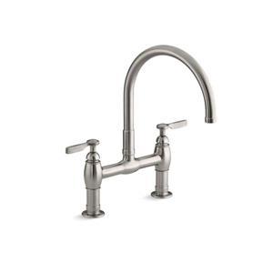 KOHLER Parq two-hole deck-mount kitchen sink faucet - Vibrant Stainless