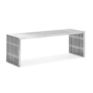 Plata Decor Nove Medium Metal Bench - Polished Metal - 16-in  x 48-in x 17-in