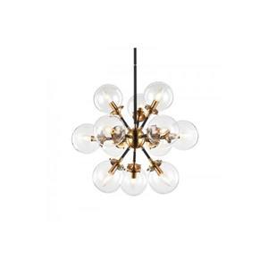 Plata Decor Daf Pendant Light - 12-Lights - Black/Gold/Clear Glass