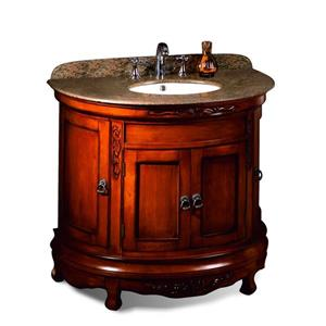 OVE Decors Victoria Single Vanity - Granite Top and Light Cherry - 36-in