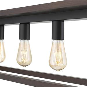 OVE Decors Flances V LED Pendant Light - Dark Brown Wood - 5-Lights