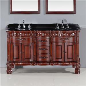 OVE Decors Buckingham Vanity - Dark Cherry with Black Granite Top - 60-in