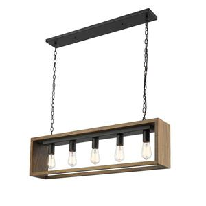 OVE Decors Flances V LED Pendant Light - Grey Wood - 5-Lights