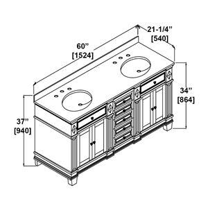 OVE Decors Essex Black Vanity - White sink with Black Granite Top - 60-in