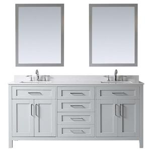 Ove Decor Tahoe Double Sink Vanity with mirror - Cultured Marble - Dove Grey Top - 72-in