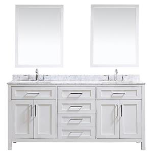 OVE Decors Tahoe Double Sink Vanity with Carrara Marble Top - White - 72-in