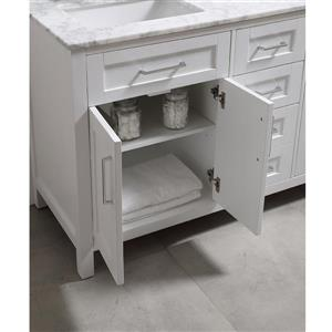 OVE Decors Tahoe Double Sink Vanity with Carrara Marble - White - 60-in