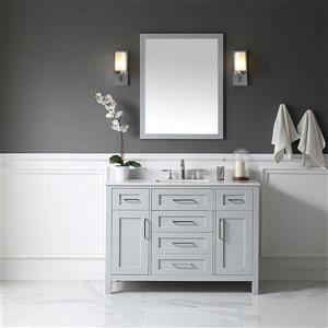 OVE Decors Tahoe Vanity, sink and mirror - Grey and Marble Grey Top - 48-in
