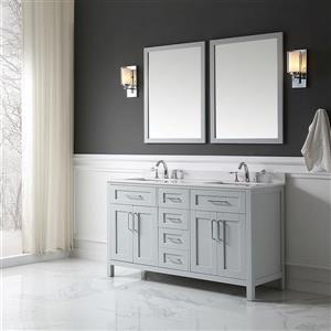 Ove decor Tahoe Double Sink Vanity with mirror - Cultured Marble - Dove Grey Top - 60-in