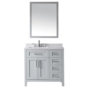 OVE Decors Tahoe Vanity, sink and mirror - Grey and Marble Grey Top - 36-in