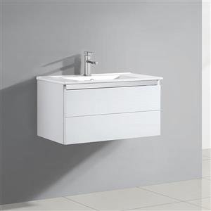 OVE Decors Single Basin Vanity with One Piece Ceramic Top - White - 30-in