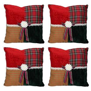 CC Christmas DecorSquare Tartan Plaid Velvet Christmas Pillows - Set of 4