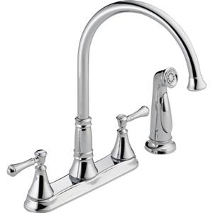 Delta Cassidy 2-Handle Kitchen Faucet with Spray - Chrome