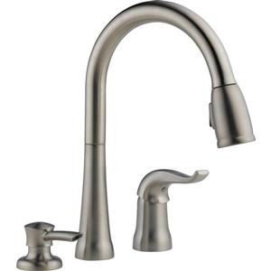 Delta Pull-Down Kitchen Faucet with Soap Dispenser
