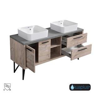 Akuaplus Zira Bathroom Vanity with Double Sink - Natural Wood