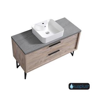 Akuaplus Zira 2-Drawer Bathroom Vanity with White Sink - Natural Wood