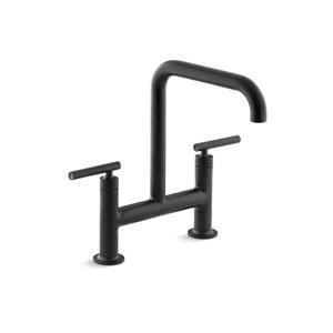 KOHLER Purist High-Arc Kitchen Sink Faucet - 2-Handle - Matte Black