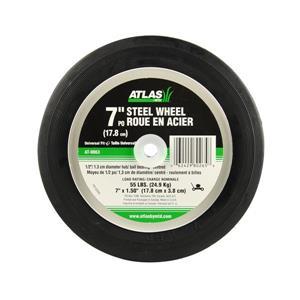 Atlas Replacement Steel Lawn Mower Wheel - Centered Ball Bearing Hub - 7-in