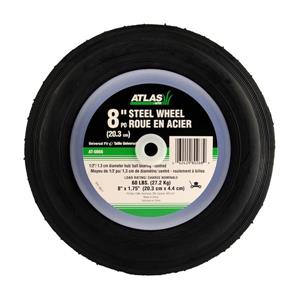 Atlas Replacement Steel Lawn Mower Wheel - Centered Ball Bearing Hub - 8-in