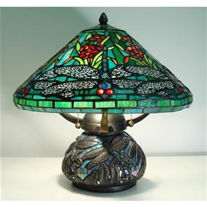 Fine Art Lighting Tiffany Style Table Lamp -16-in - Blue/Green