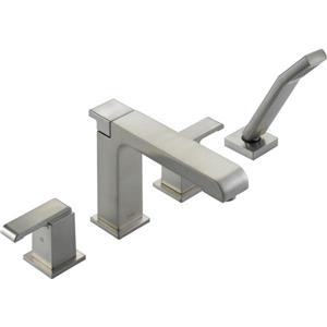 Delta Arzo Deck Mount Roman Tub Faucet - 10-in. - Stainless Steel