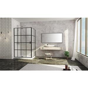 A&E Bath & Shower Taylor Bath Screen Shower Enclosure - 48-in - Black Matte