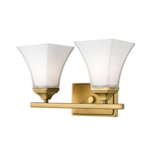 Millenium 2-Light Vanity Light With Etched White Glass - Heirloom Bronze
