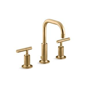 Kohler Purist Widespread Bathroom Sink Faucet with High Gooseneck Spout - Gold