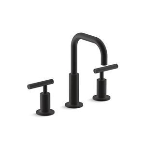 Kohler Purist Widespread Bathroom Sink Faucet with High Gooseneck Spout - Black