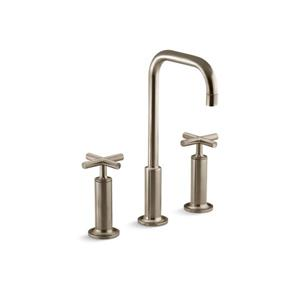 Kohler Purist Widespread Bathroom Sink Faucet with High Gooseneck Spout - Bronze