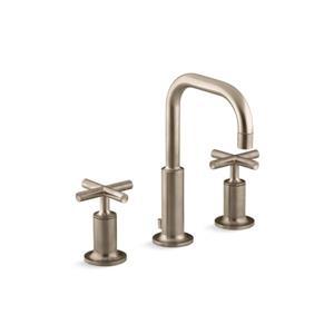 Kohler Purist Widespread Bathroom Sink Faucet with High Gooseneck Spout - Bronze