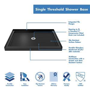 """DreamLine Lumen Shower Door and Base - 34"""" x 42"""" - Bronze"""