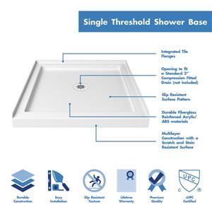 """DreamLine Lumen Shower Door/Base Kit - 36"""" x 36"""" - Chrome"""
