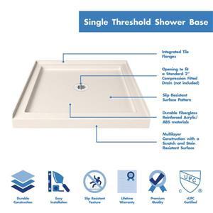 """DreamLine Lumen Semi-Framed Shower Door/Base - 42"""" - Chrome"""