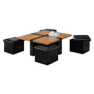 Oakland Living Coffee Table Set - 4 Storage Stools - Brown - Set of 5