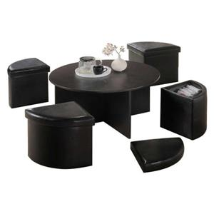 Oakland Living Round Coffee Table Set - 4 Storage Stools - Brown - Set of 5